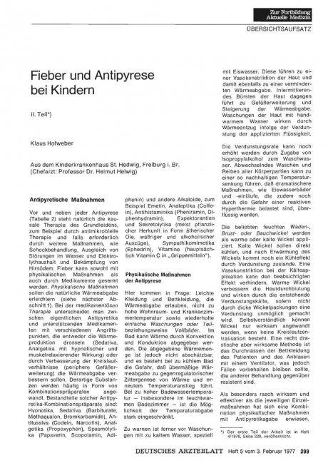 Fieber und Antipyrese bei Kindern