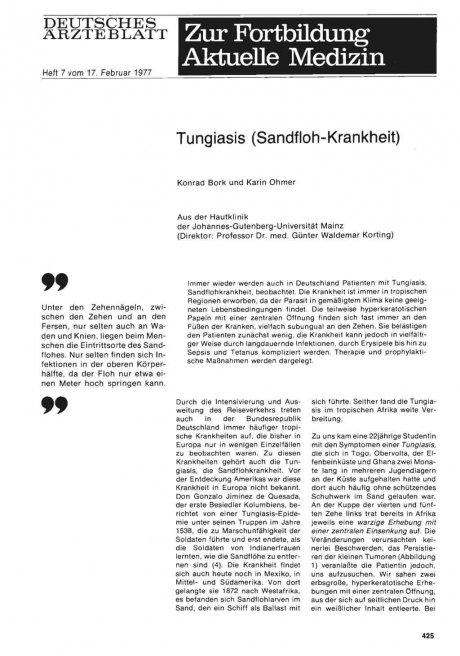 Tungiasis (Sandfloh-Krankheit)