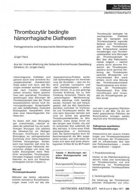 Thrombozytär bedingte hämorrhagische Diathesen