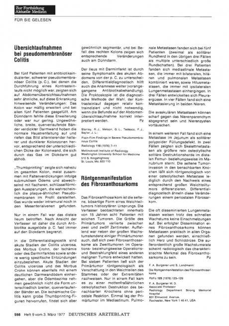 Röntgenmanifestation des Fibroxanthosarkoms