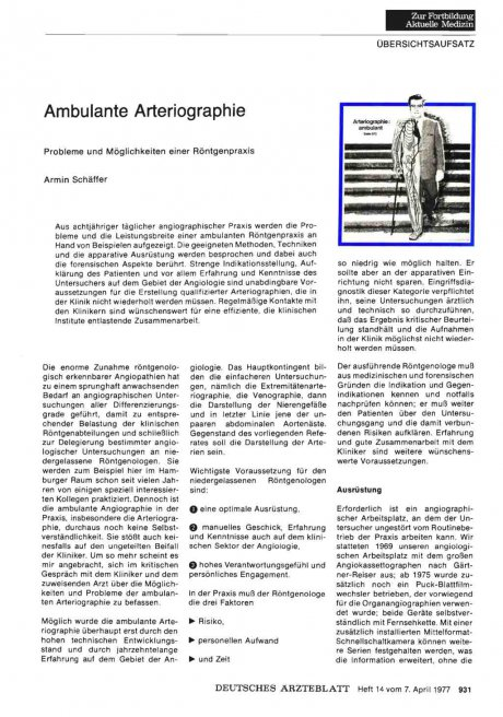 Ambulante Arteriographie