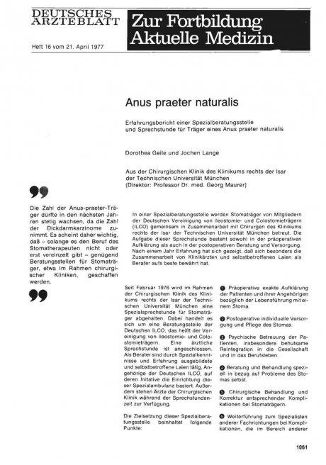 Anus praeter naturalis: Erfahrungsbericht einer Spezialberatungsstelle und Sprechstunde für Träger eines Anus praeter naturalis