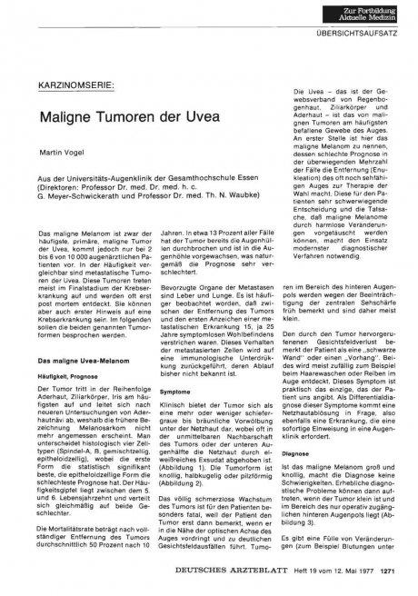 KARZINOMSERIE: Maligne Tumoren der Uvea