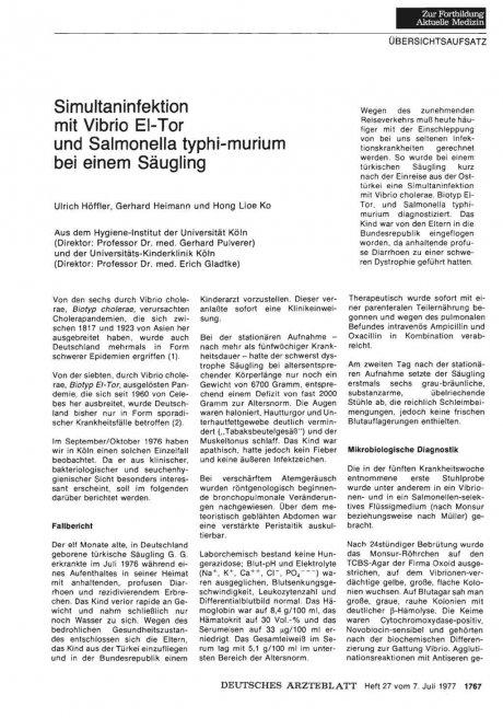 Simultaninfektion mit Vibrio EI-Tor und Salmonella...