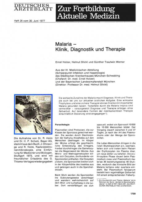 Malaria — Klinik, Diagnostik und Therapie