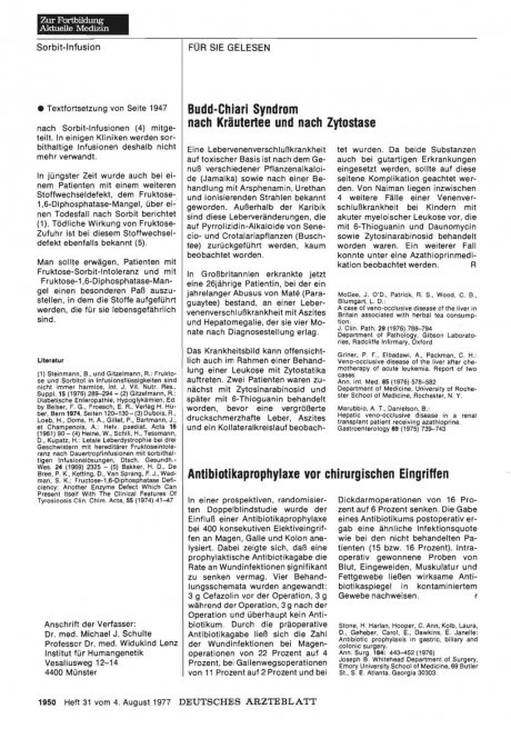 Budd-Chiari Syndrom nach Kräutertee und nach Zytostase