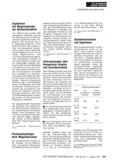 Peritonealzytologie beim Magenkarzinom