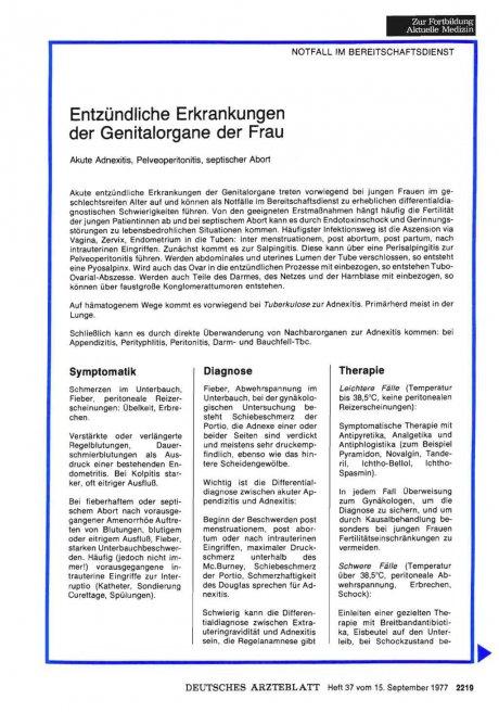 Entzündliche Erkrankungen der Genitalorgane der...