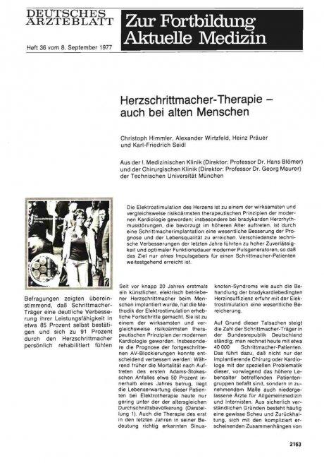 Herzschrittmacher-Therapie — auch bei alten...