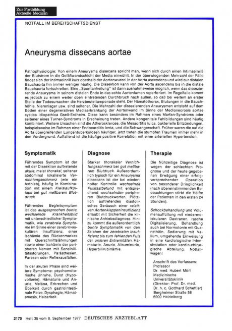 Aneurysma dissecans aortae