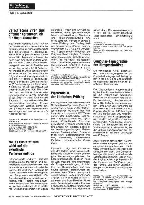 Piprozolin in der klinischen Prüfung