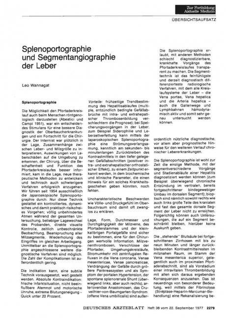 Splenoportographie und Segmentangiographie der...
