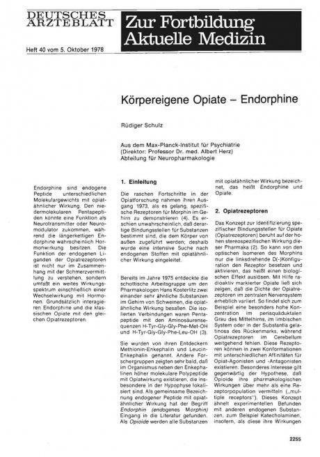 Körpereigene Opiate - Endorphine