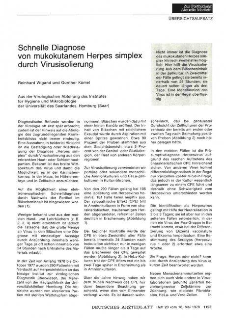 Schnelle Diagnose von mukokutanem Herpes simplex...