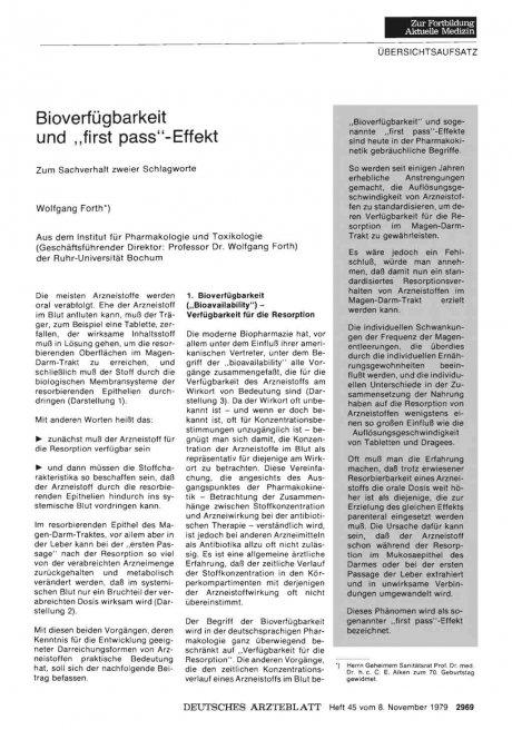 """Bioverfügbarkeit und """"first pass""""-Effekt"""