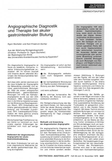 Angiographische Diagnostik und Therapie bei akuter...