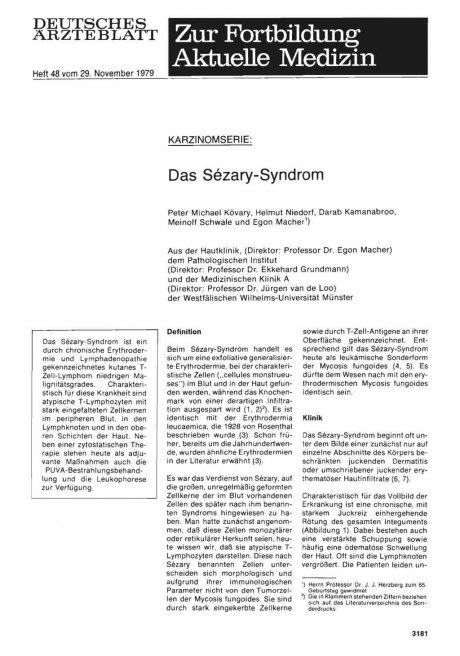 KARZINOMSERIE: Das Sözary-Syndrom