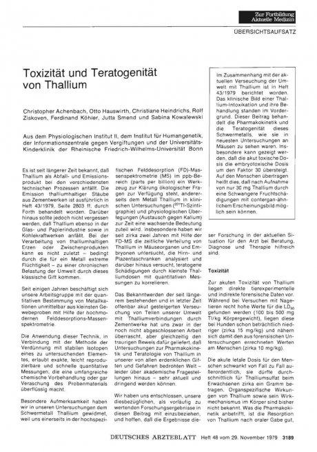 Toxizität und Teratogenität von Thallium