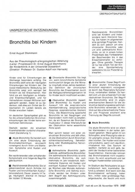 UNSPEZIFISCHE ENTZÜNDUNGEN: Bronchitis bei Kindern