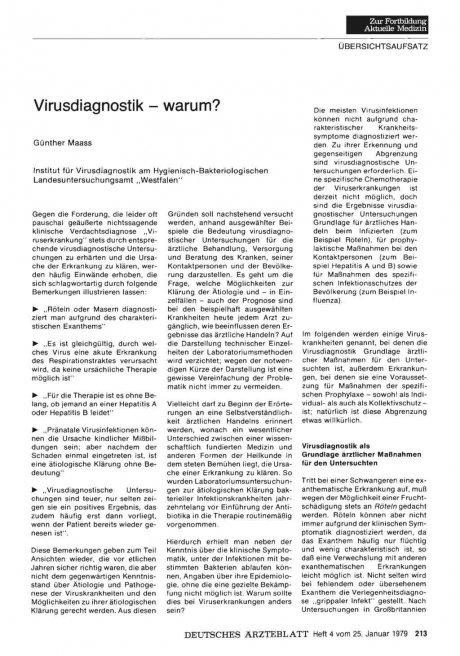 Virusdiagnostik - warum?