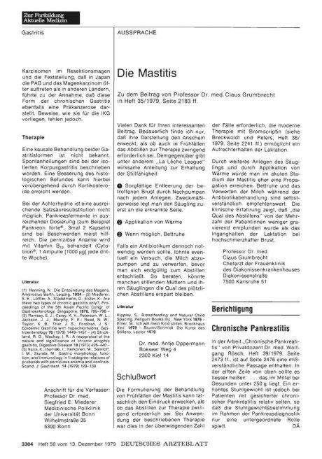 Die Mastitis: Schlußwort