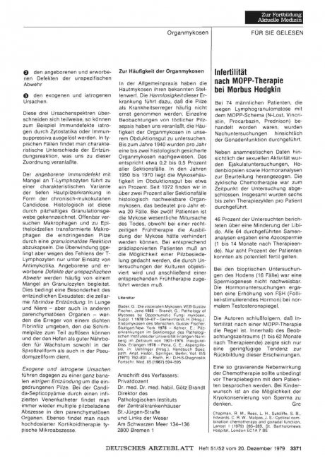 Infertilität nach MOPP-Therapie bei Morbus Hodgkin