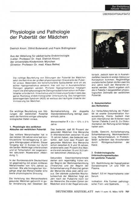 Physiologie und Pathologie der Pubertät der...