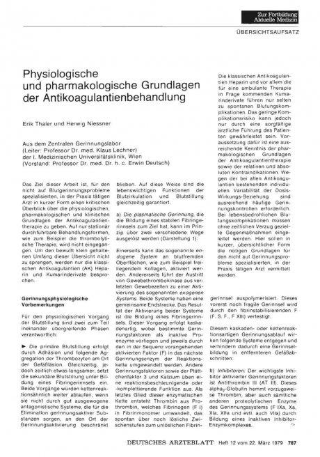 Physiologische und pharmakologische Grundlagen der...