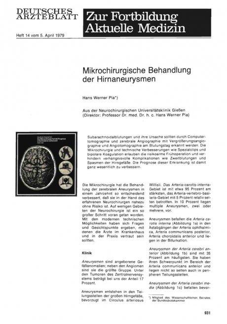 Mikrochirurgische Behandlung der Hirnaneurysmen
