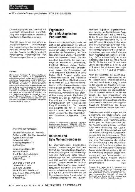Rauchen und tiefe Venenthrombosen