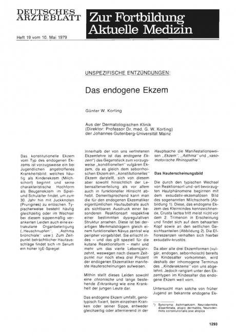 Unspezifische Entzündungen: Das endogene Ekzem