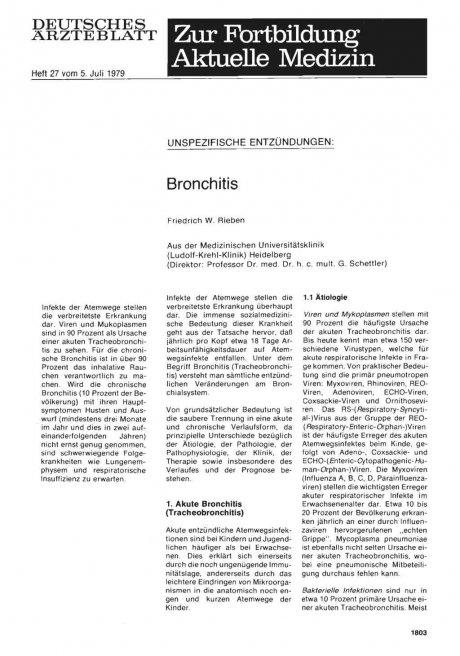 UNSPEZIFISCHE ENTZÜNDUNGEN: Bronchitis