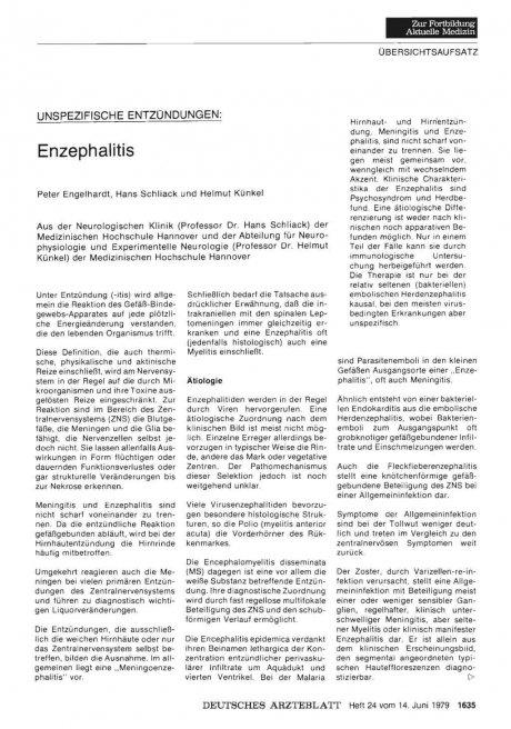 Unspezifische Entzündungen: Enzephalitis