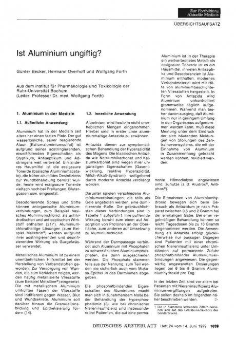 Ist Aluminium ungiftig?