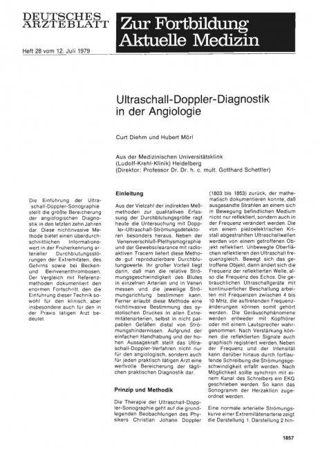 Ultraschall-Doppler-Diagnostik in der Angiologie