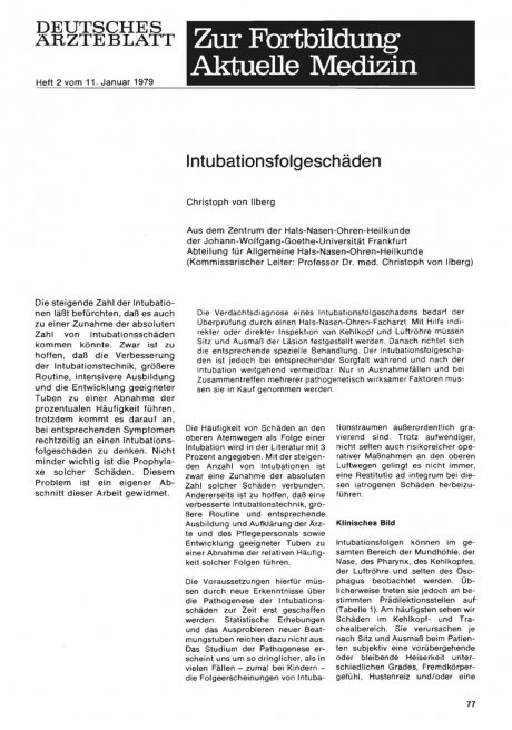 Intubationsfolgeschäden