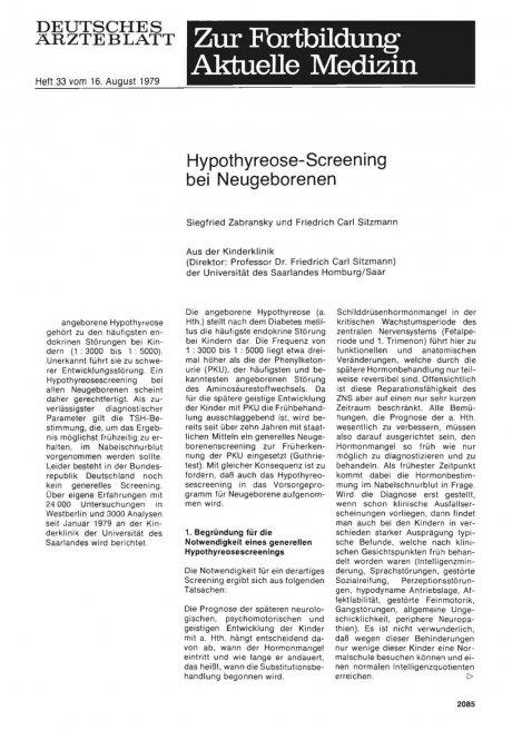 Hypothyreose-Screening bei Neugeborenen