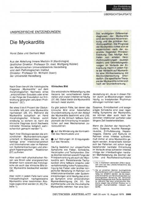 Unspezifische Entzündungen: Die Myokarditis