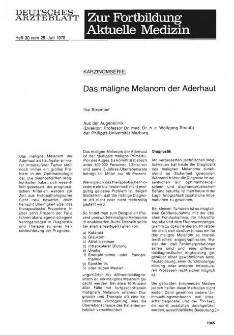 Karzinomserie: Das maligne Melanom der Aderhaut