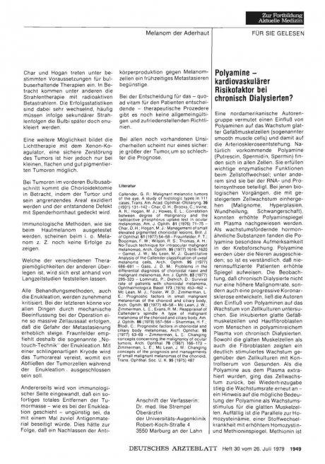 Polyamine — kardiovaskulärer Risikofaktor bei...