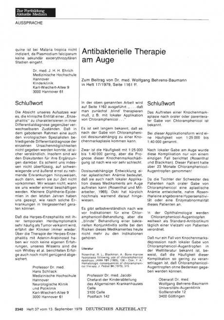 Antibakterielle Therapie am Auge: Stellungnahme