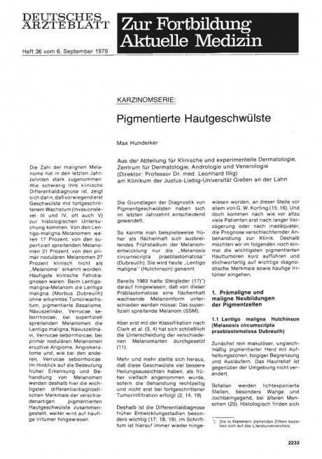 KARZINOMSERIE: Pigmentierte Hautgeschwülste