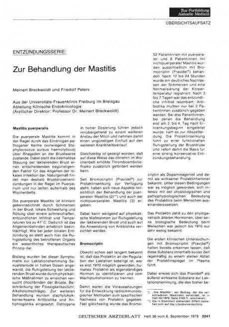 ENTZÜNDUNGSSERIE: Zur Behandlung der Mastitis