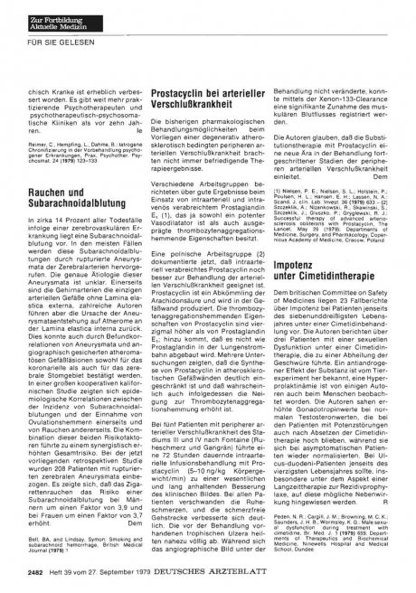 Rauchen und Subarachnoidalblutung