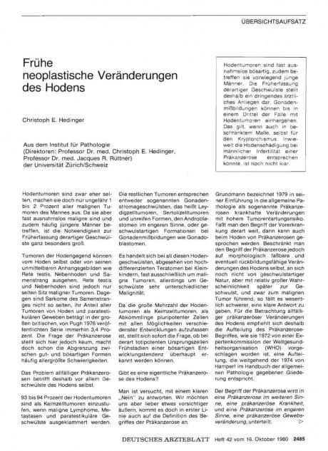 Frühe neoplastische Veränderungen des Hodens