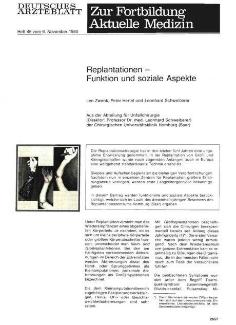 Replantationen — Funktion und soziale Aspekte