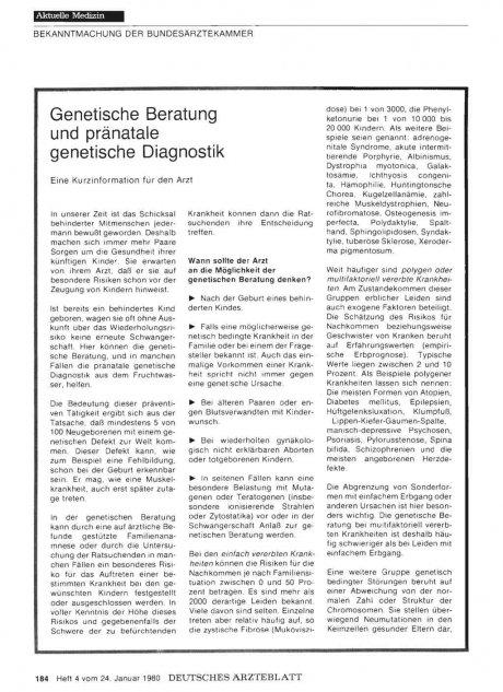 Genetische Beratung und pränatale genetische...