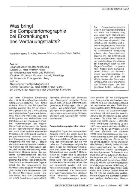 Was bringt die Computertomographie bei...