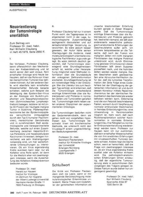 Neuorientierung der Tumorvirologie unerläßlich: I.