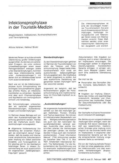 Infektionsprophylaxe in der Touristik-Medizin